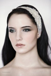 Wedding Headband 'Grace' - organza wedding headband with lace detail